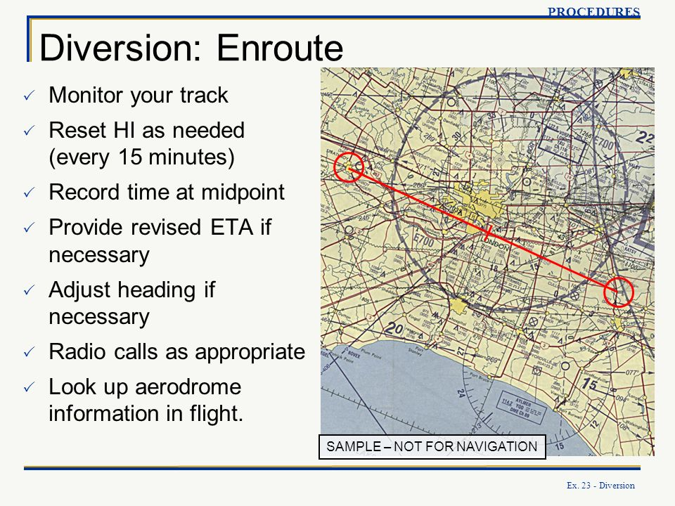 Ex. 23 - Diversion SAMPLE – NOT FOR NAVIGATION Diversion: Enroute PROCEDURES Monitor your track Reset HI as needed (every 15 minutes) Record time at m