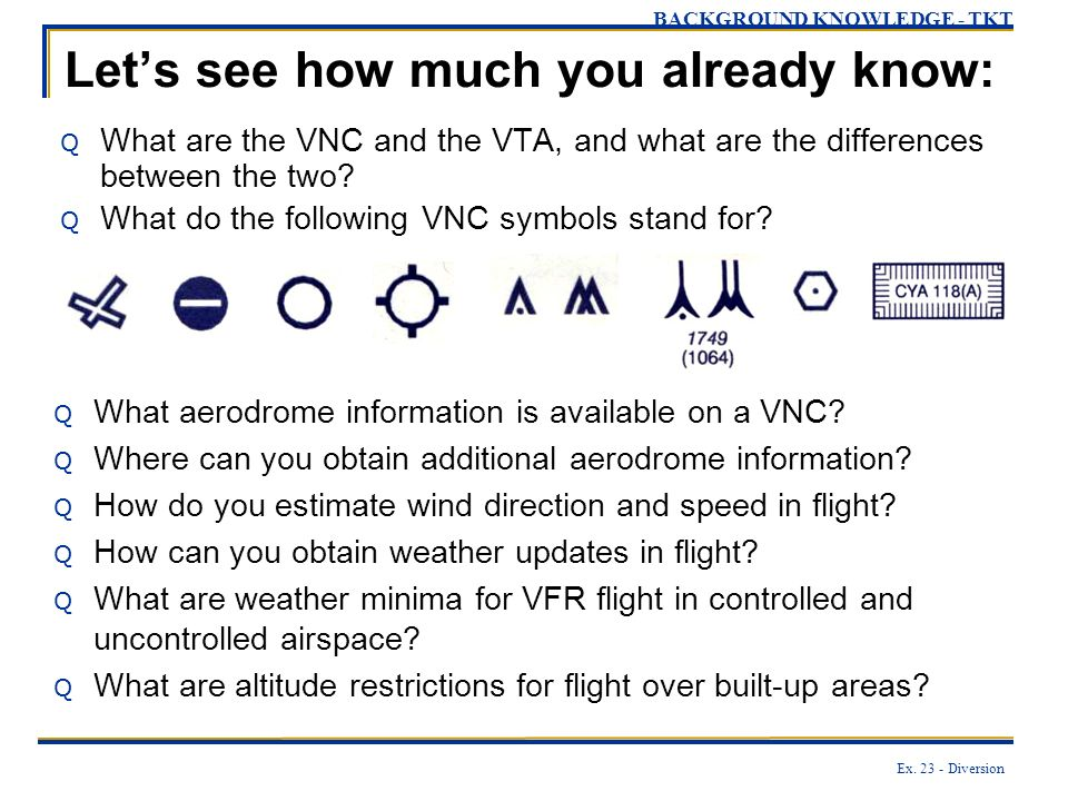 Ex. 23 - Diversion Lets see how much you already know: Q What are the VNC and the VTA, and what are the differences between the two? Q What do the fol