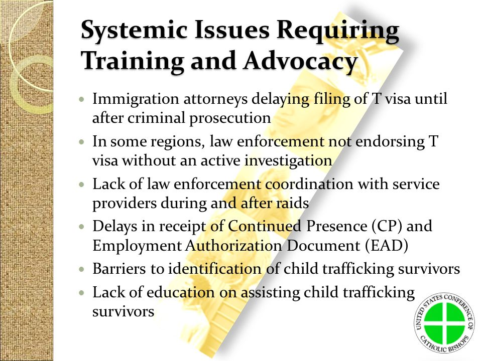 Systemic Issues Requiring Training and Advocacy Immigration attorneys delaying filing of T visa until after criminal prosecution In some regions, law enforcement not endorsing T visa without an active investigation Lack of law enforcement coordination with service providers during and after raids Delays in receipt of Continued Presence (CP) and Employment Authorization Document (EAD) Barriers to identification of child trafficking survivors Lack of education on assisting child trafficking survivors