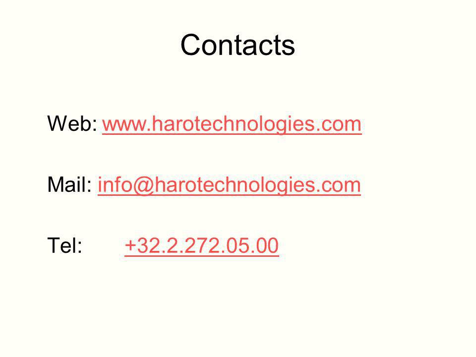 Contacts Web: www.harotechnologies.comwww.harotechnologies.com Mail: info@harotechnologies.cominfo@harotechnologies.com Tel: +32.2.272.05.00