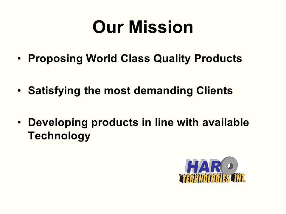 Our Mission Proposing World Class Quality Products Satisfying the most demanding Clients Developing products in line with available Technology