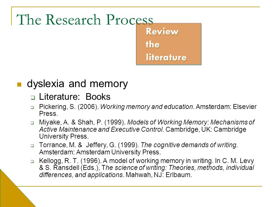 The Research Process dyslexia and memory Literature: Books Pickering, S. (2006). Working memory and education. Amsterdam: Elsevier Press. Miyake, A. &