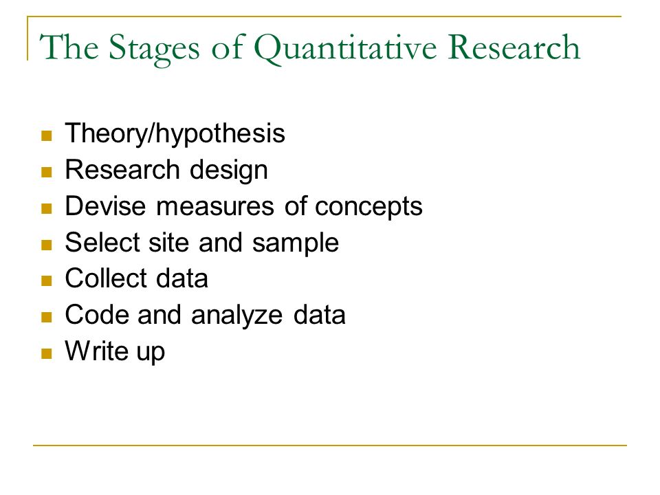 The Stages of Quantitative Research Theory/hypothesis Research design Devise measures of concepts Select site and sample Collect data Code and analyze