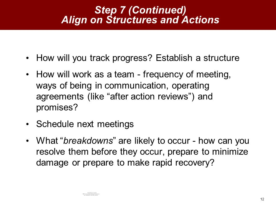 12 Step 7 (Continued) Align on Structures and Actions How will you track progress.