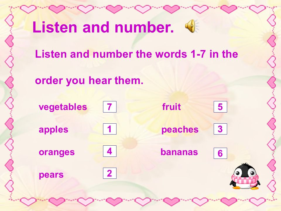 Word study oranges pears peaches healthy food pickThe children are ing fruit.