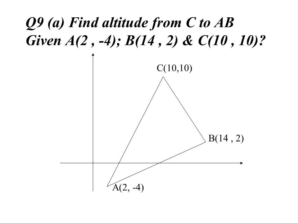 Q9 (a) Find altitude from C to AB Given A(2, -4); B(14, 2) & C(10, 10)? B(14, 2) A(2, -4) C(10,10)