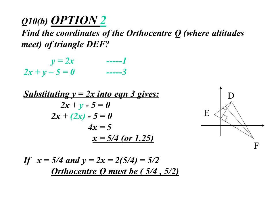 Q10(b) OPTION 2 Find the coordinates of the Orthocentre Q (where altitudes meet) of triangle DEF? y = 2x -----1 2x + y – 5 = 0 -----3 Substituting y =