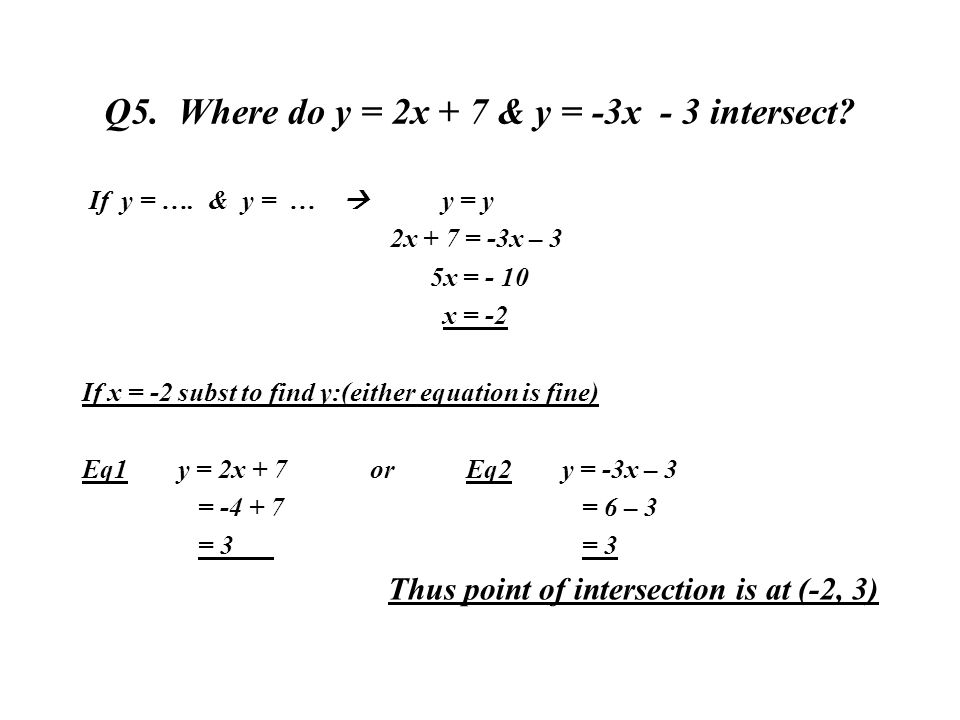 Q5. Where do y = 2x + 7 & y = -3x - 3 intersect? If y = …. & y = … y = y 2x + 7 = -3x – 3 5x = - 10 x = -2 If x = -2 subst to find y:(either equation