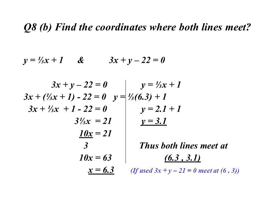 Q8 (b) Find the coordinates where both lines meet? y = x + 1 & 3x + y – 22 = 0 3x + y – 22 = 0 y = x + 1 3x + (x + 1) - 22 = 0 y = (6.3) + 1 3x + x +