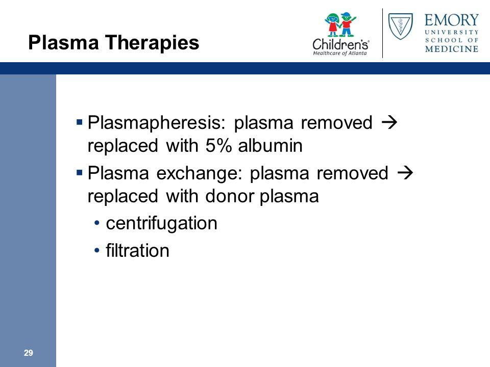 29 Plasma Therapies Plasmapheresis: plasma removed replaced with 5% albumin Plasma exchange: plasma removed replaced with donor plasma centrifugation