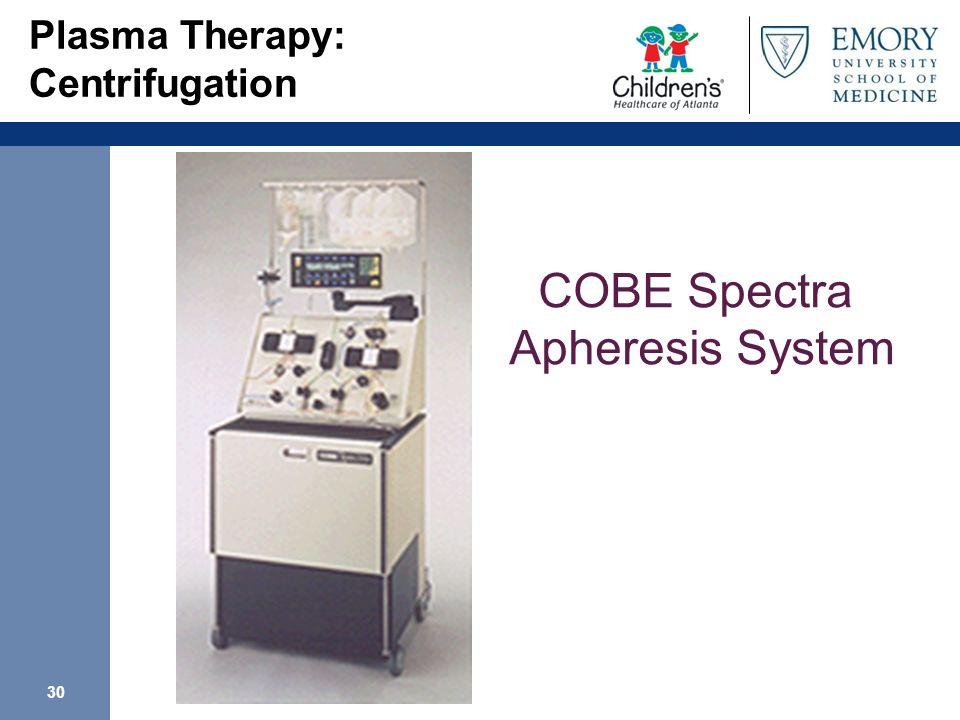 30 Plasma Therapy: Centrifugation COBE Spectra Apheresis System