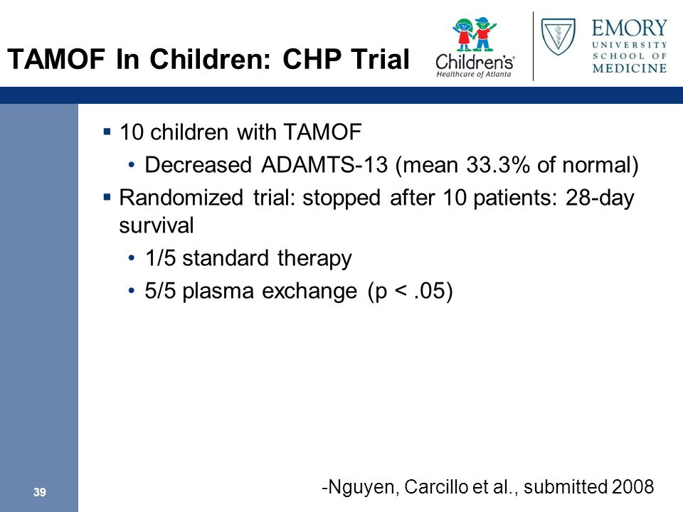 39 TAMOF In Children: CHP Trial 10 children with TAMOF Decreased ADAMTS-13 (mean 33.3% of normal) Randomized trial: stopped after 10 patients: 28-day