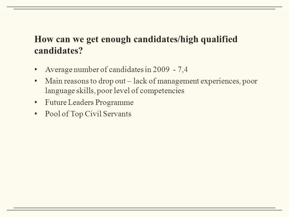 How can we get enough candidates/high qualified candidates.