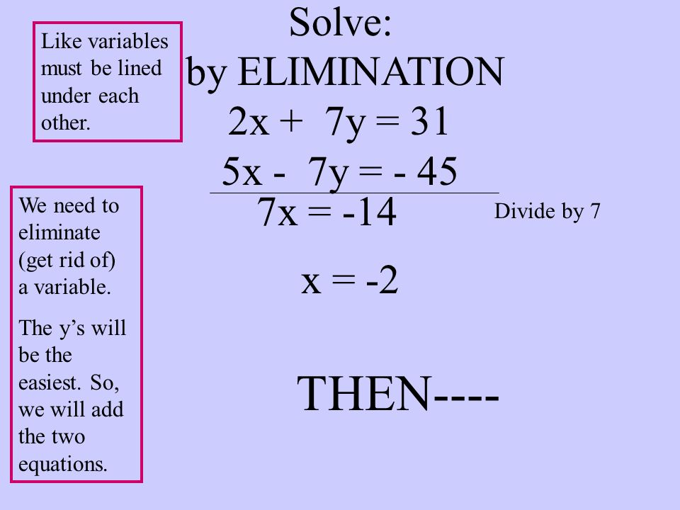 Solve: by ELIMINATION 2x + 7y = 31 5x - 7y = - 45 We need to eliminate (get rid of) a variable. The ys will be the easiest. So, we will add the two eq
