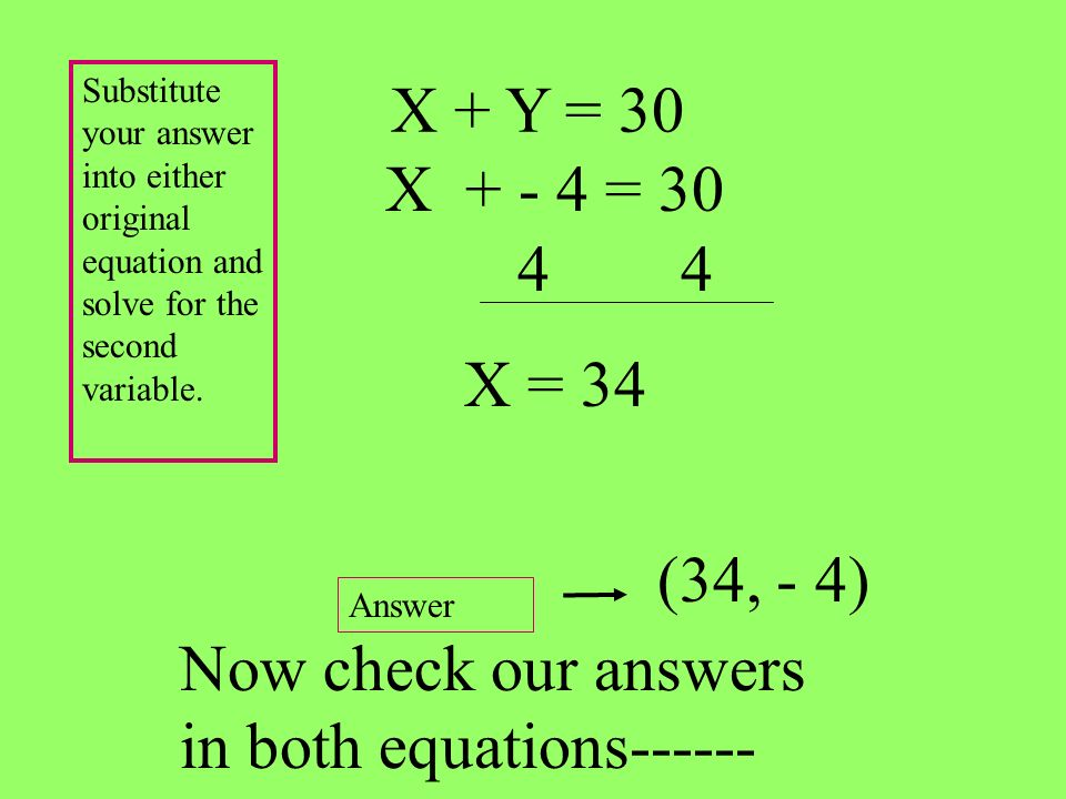 X + Y = 30 (34, - 4) Substitute your answer into either original equation and solve for the second variable. Answer Now check our answers in both equa