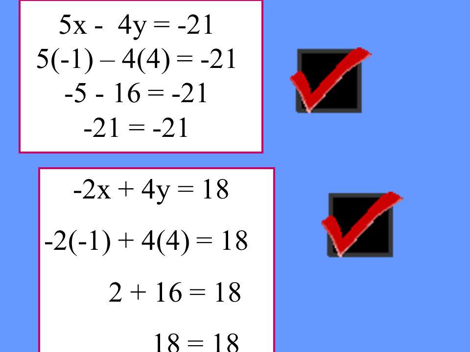 5x - 4y = -21 5(-1) – 4(4) = -21 -5 - 16 = -21 -21 = -21 -2x + 4y = 18 -2(-1) + 4(4) = 18 2 + 16 = 18 18 = 18