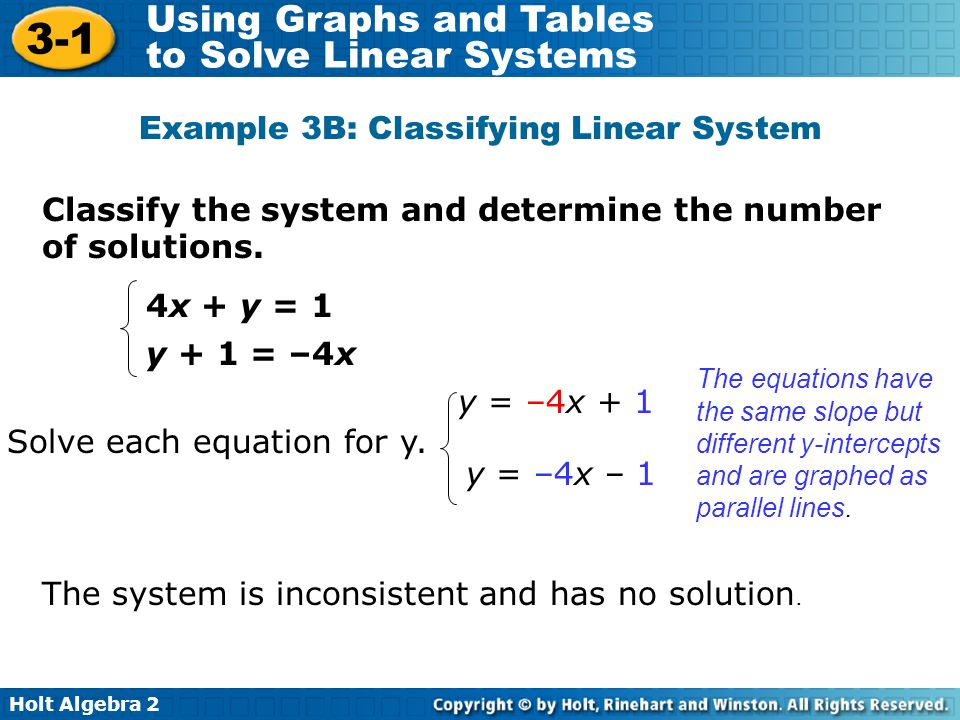 Holt Algebra 2 3-1 Using Graphs and Tables to Solve Linear Systems Classify the system and determine the number of solutions. Example 3B: Classifying