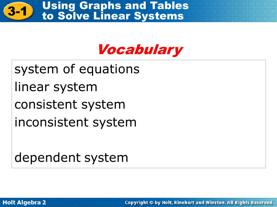 Holt Algebra 2 3-1 Using Graphs and Tables to Solve Linear Systems system of equations linear system consistent system inconsistent system dependent s