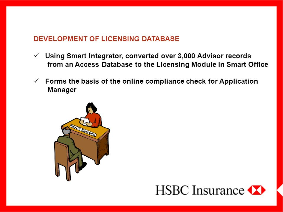 DEVELOPMENT OF LICENSING DATABASE Using Smart Integrator, converted over 3,000 Advisor records from an Access Database to the Licensing Module in Smart Office Forms the basis of the online compliance check for Application Manager