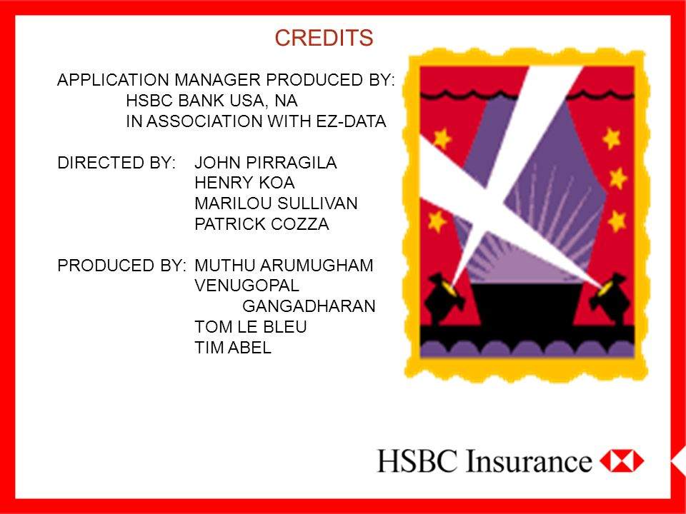 CREDITS APPLICATION MANAGER PRODUCED BY: HSBC BANK USA, NA IN ASSOCIATION WITH EZ-DATA DIRECTED BY:JOHN PIRRAGILA HENRY KOA MARILOU SULLIVAN PATRICK C