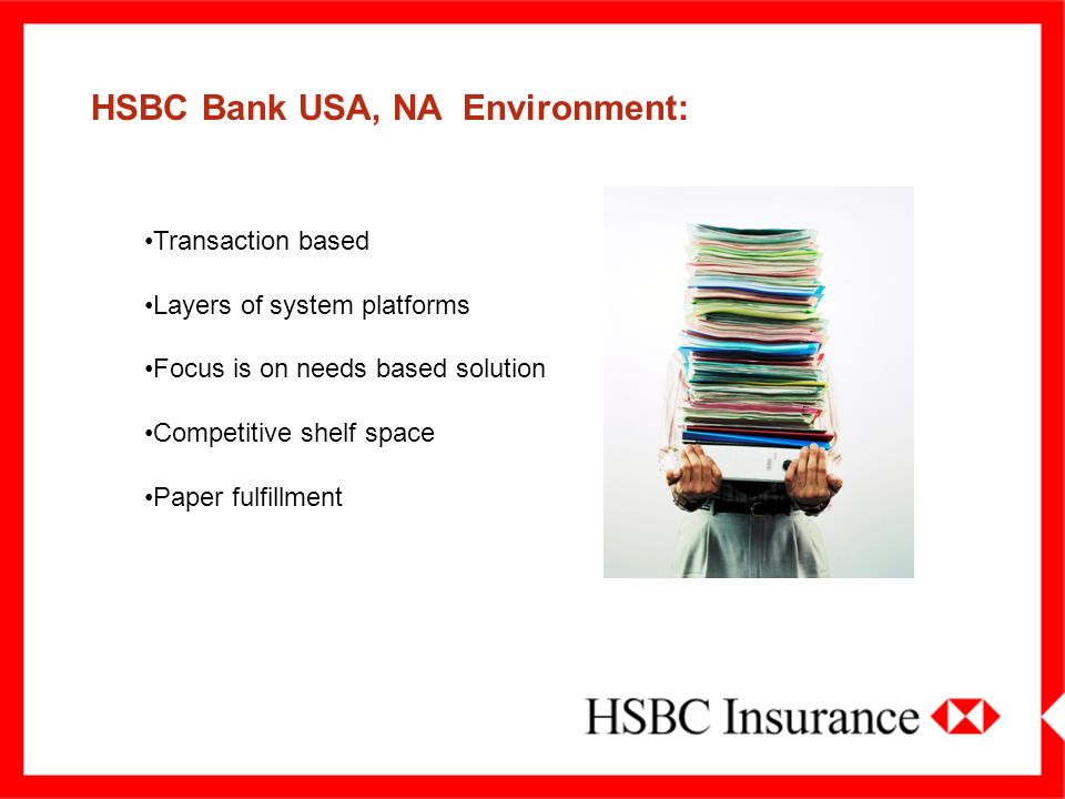 HSBC Bank USA, NA Environment: Transaction based Layers of system platforms Focus is on needs based solution Competitive shelf space Paper fulfillment