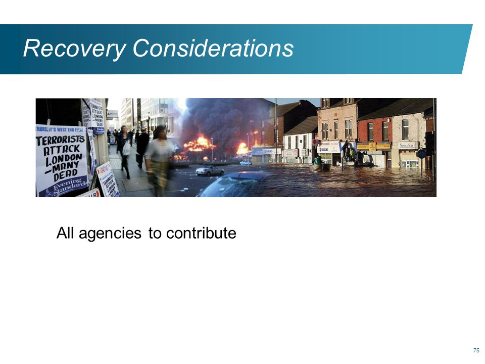 75 Recovery Considerations All agencies to contribute