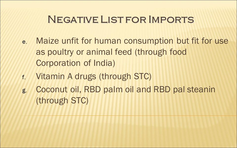 Negative List for Imports e.