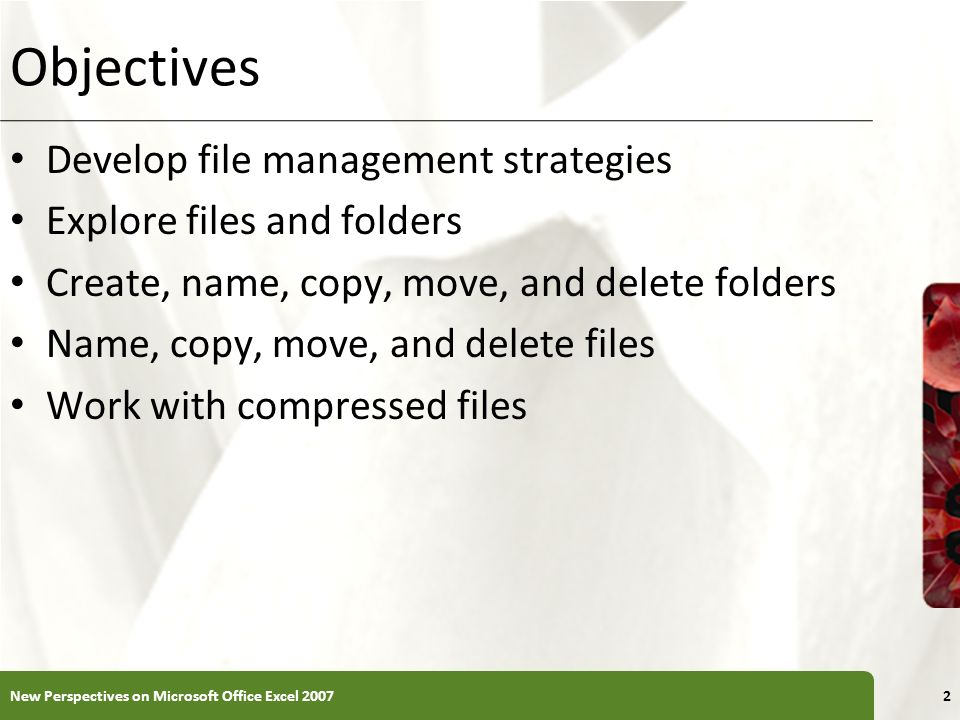 XP Objectives Develop file management strategies Explore files and folders Create, name, copy, move, and delete folders Name, copy, move, and delete f