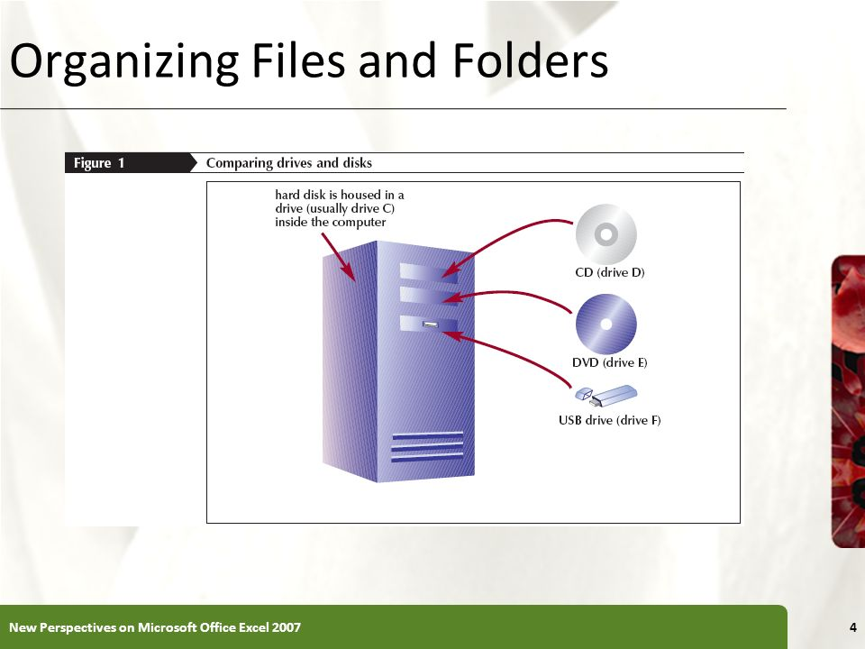 XP Working with Folders and Files Moving and Copying Files and Folders – Moving a file removes it from its current location and places it in a new location you specify – Copying places the file in both locations 15New Perspectives on Microsoft Office Excel 2007
