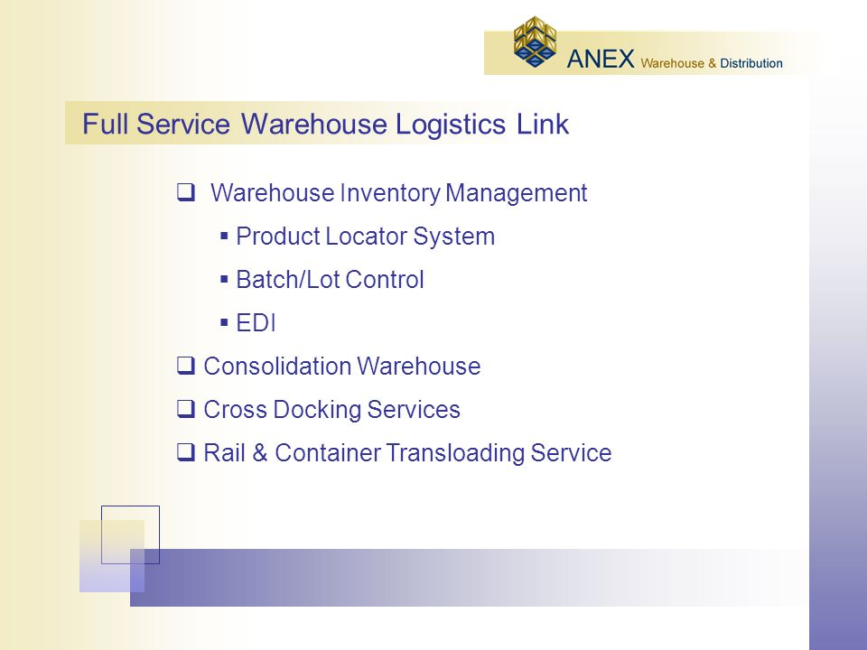 Warehouse Inventory Management Product Locator System Batch/Lot Control EDI Consolidation Warehouse Cross Docking Services Rail & Container Transloading Service Full Service Warehouse Logistics Link