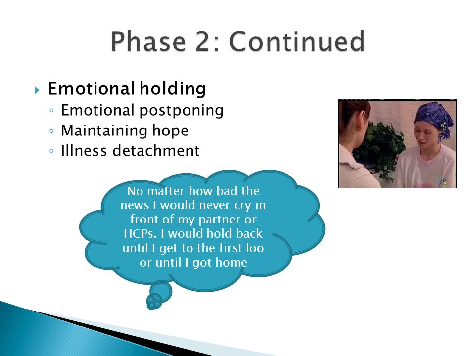 Emotional holding Emotional postponing Maintaining hope Illness detachment No matter how bad the news I would never cry in front of my partner or HCPs