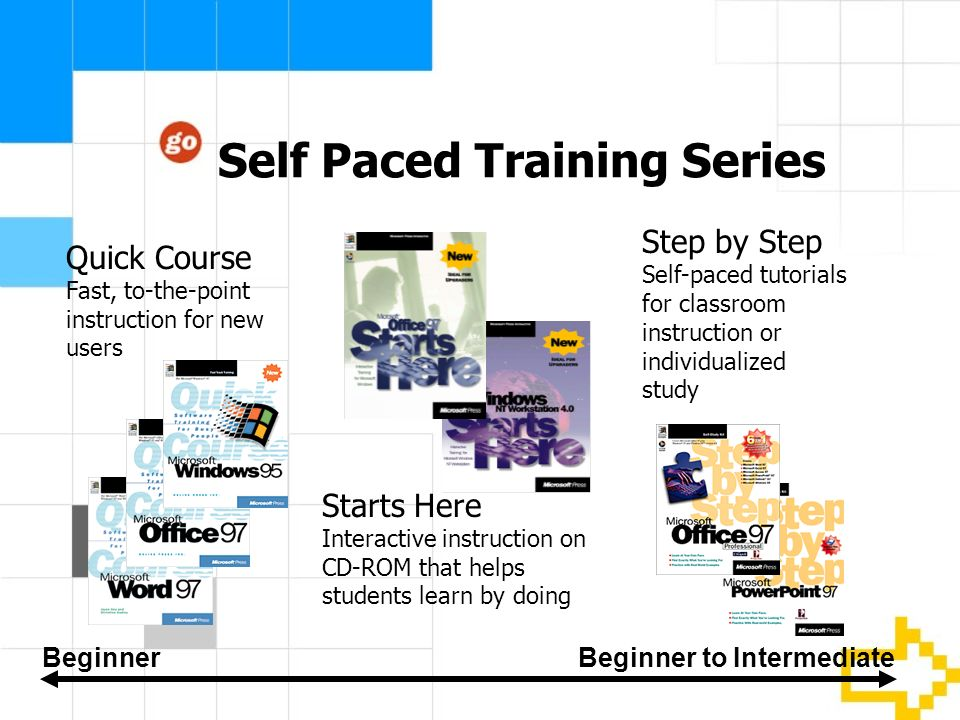 Self Paced Training Series Step by Step Self-paced tutorials for classroom instruction or individualized study Starts Here Interactive instruction on CD-ROM that helps students learn by doing BeginnerBeginner to Intermediate Quick Course Fast, to-the-point instruction for new users