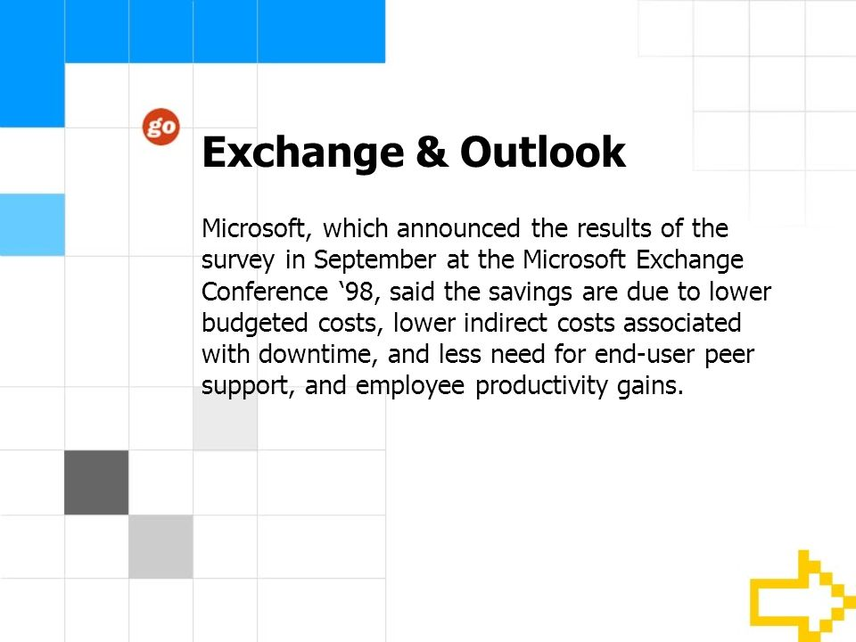 Exchange & Outlook Microsoft, which announced the results of the survey in September at the Microsoft Exchange Conference 98, said the savings are due to lower budgeted costs, lower indirect costs associated with downtime, and less need for end-user peer support, and employee productivity gains.