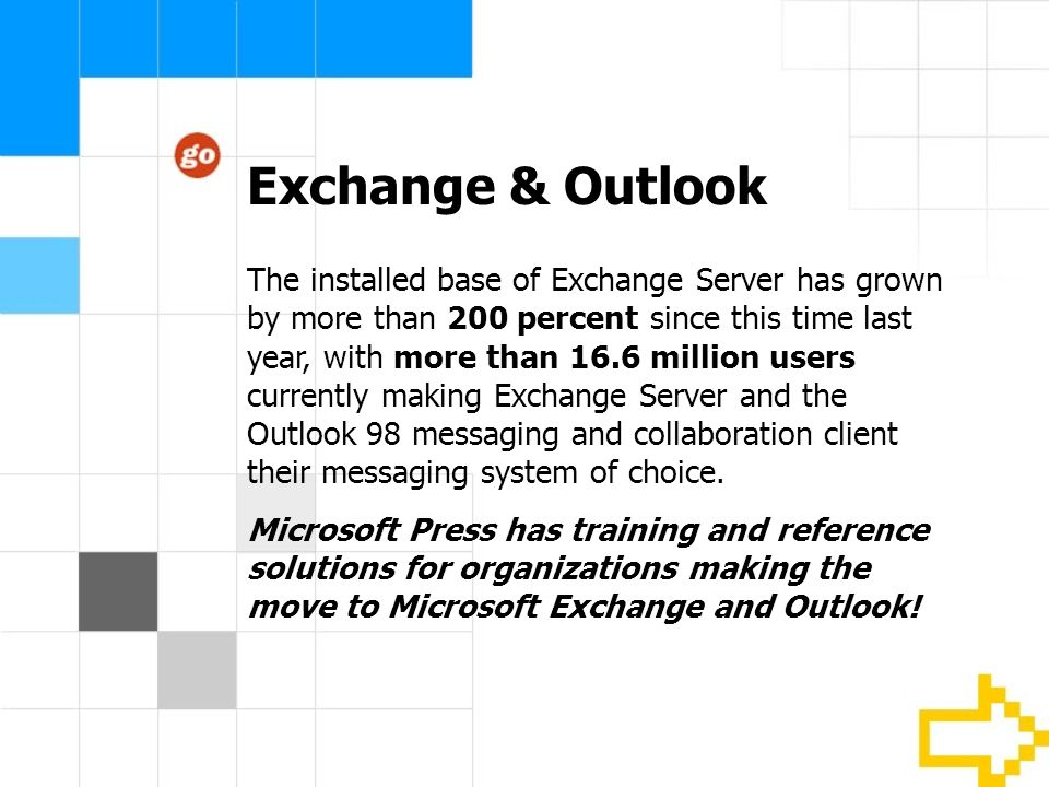 Exchange & Outlook The installed base of Exchange Server has grown by more than 200 percent since this time last year, with more than 16.6 million users currently making Exchange Server and the Outlook 98 messaging and collaboration client their messaging system of choice.