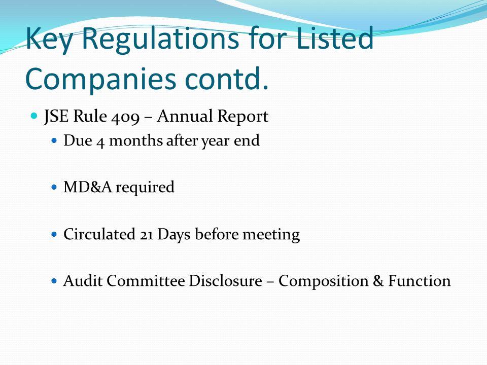 Key Regulations for Member- dealers contd.