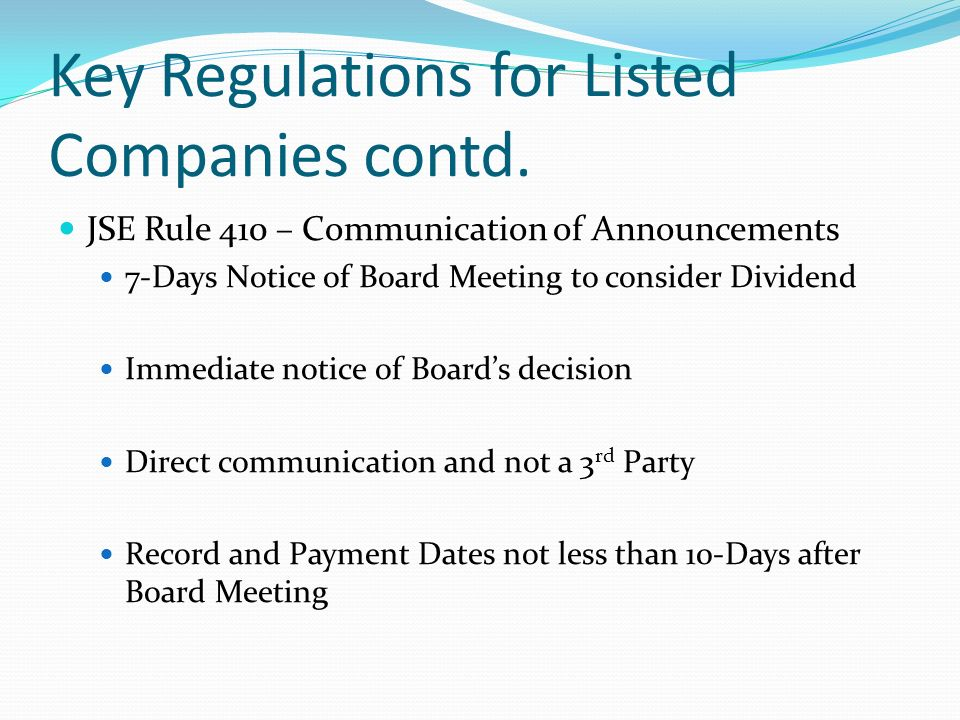 Key Regulations for Listed Company contd.
