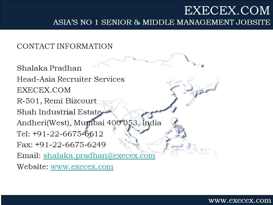 Gvmk,bj. CONTACT INFORMATION Shalaka Pradhan Head-Asia Recruiter Services EXECEX.COM R-501, Remi Bizcourt Shah Industrial Estate Andheri(West), Mumbai
