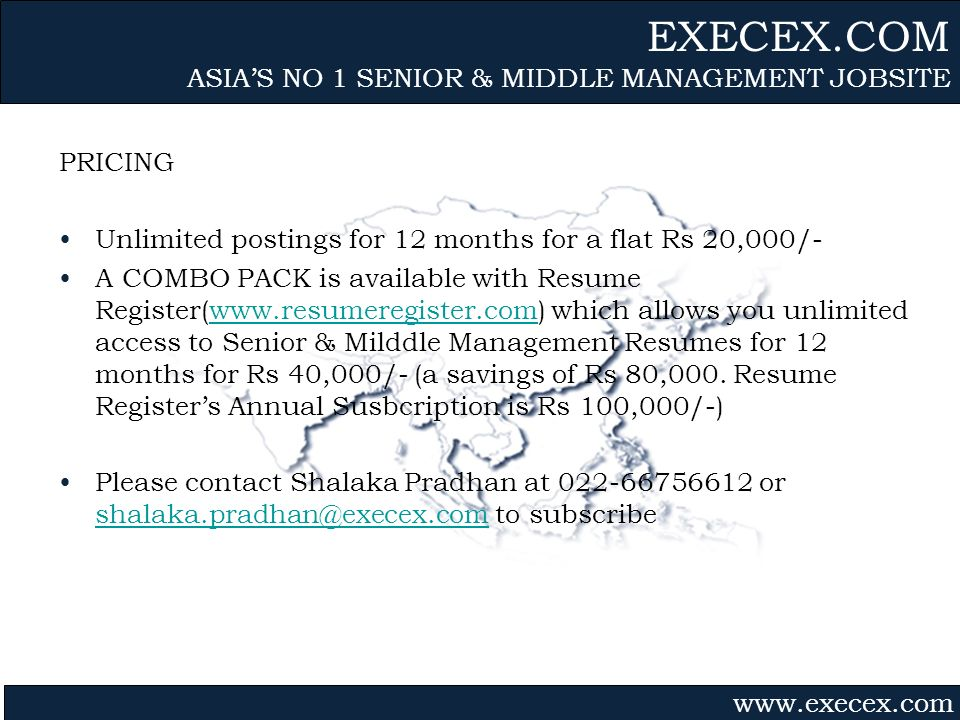 Gvmk,bj. PRICING Unlimited postings for 12 months for a flat Rs 20,000/- A COMBO PACK is available with Resume Register(www.resumeregister.com) which