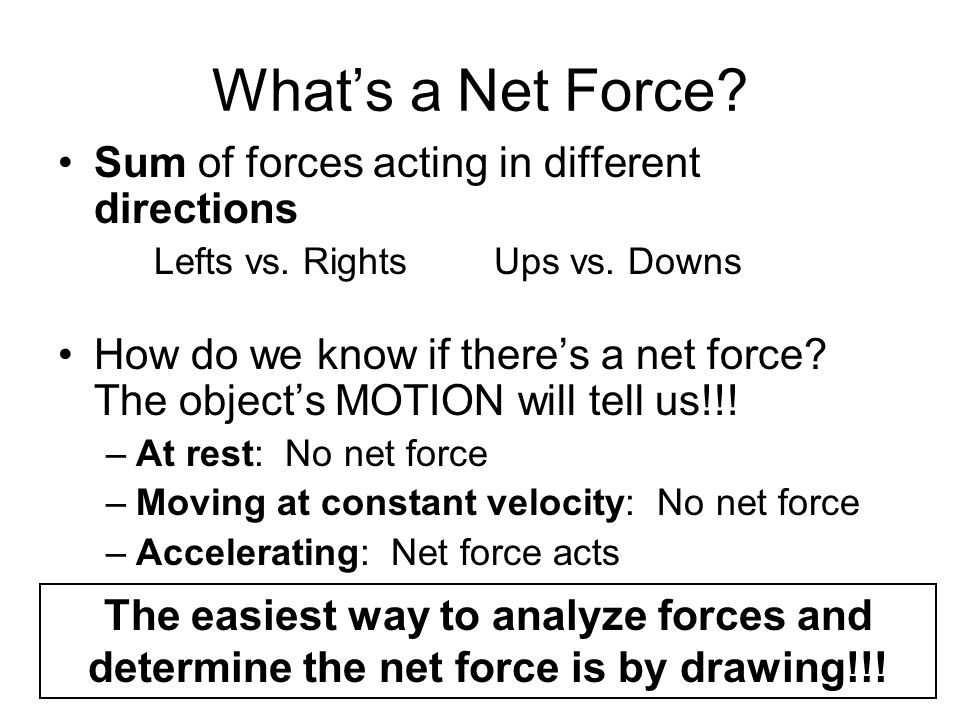 Whats a Net Force? Sum of forces acting in different directions Lefts vs. Rights Ups vs. Downs How do we know if theres a net force? The objects MOTIO