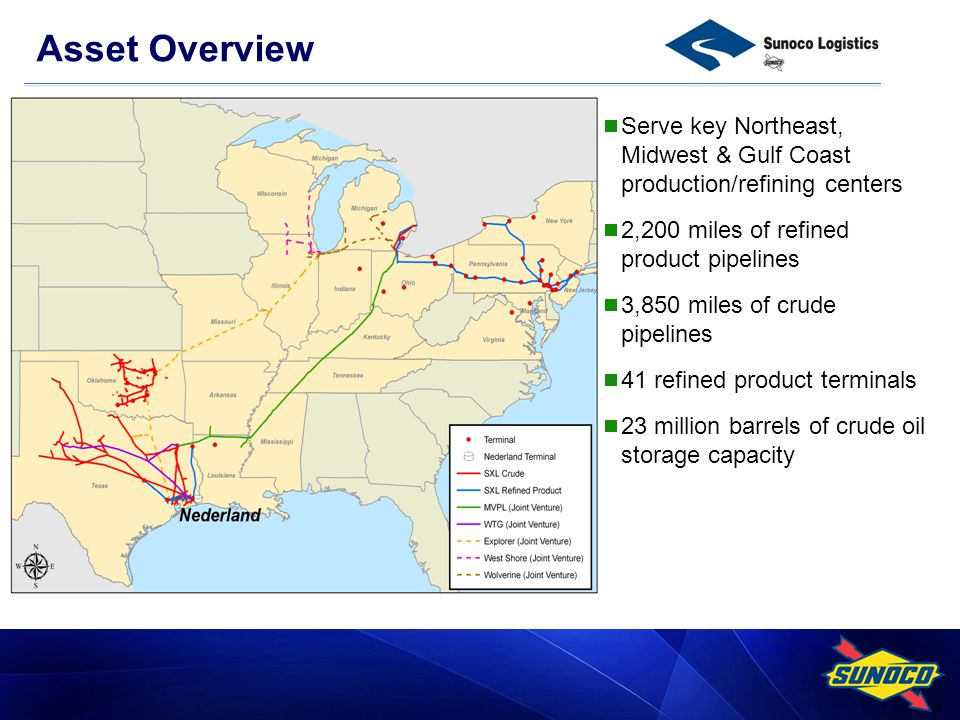 3 Serve key Northeast, Midwest & Gulf Coast production/refining centers 2,200 miles of refined product pipelines 3,850 miles of crude pipelines 41 refined product terminals 23 million barrels of crude oil storage capacity Asset Overview