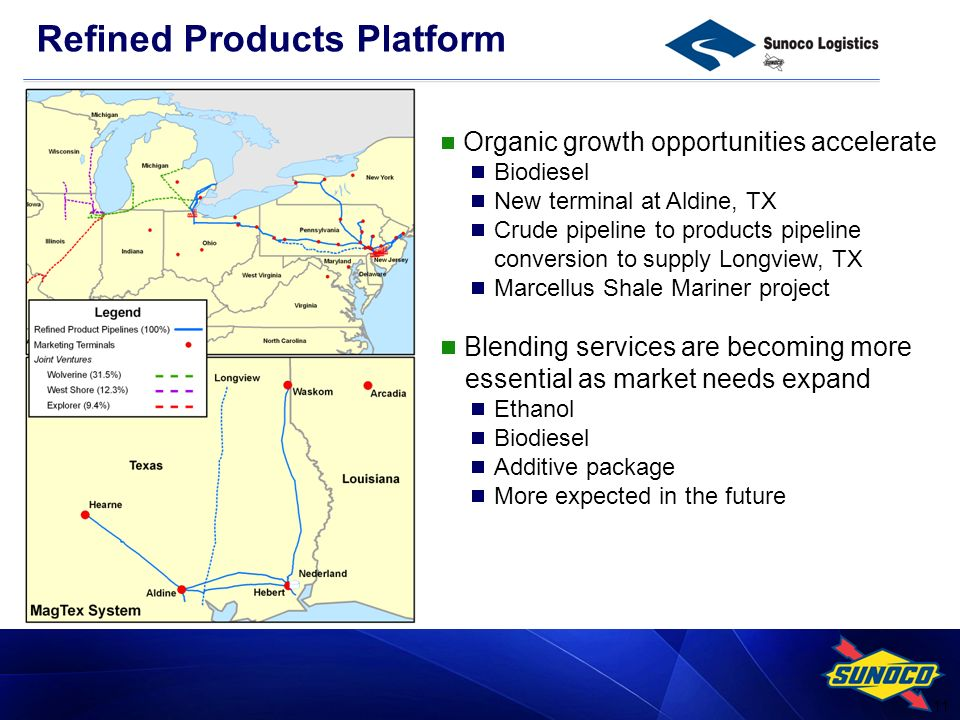 11 Organic growth opportunities accelerate Biodiesel New terminal at Aldine, TX Crude pipeline to products pipeline conversion to supply Longview, TX Marcellus Shale Mariner project Blending services are becoming more essential as market needs expand Ethanol Biodiesel Additive package More expected in the future Refined Products Platform