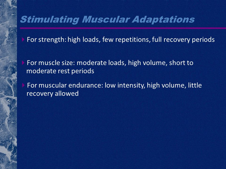 Stimulating Muscular Adaptations For strength: high loads, few repetitions, full recovery periods For muscle size: moderate loads, high volume, short to moderate rest periods For muscular endurance: low intensity, high volume, little recovery allowed