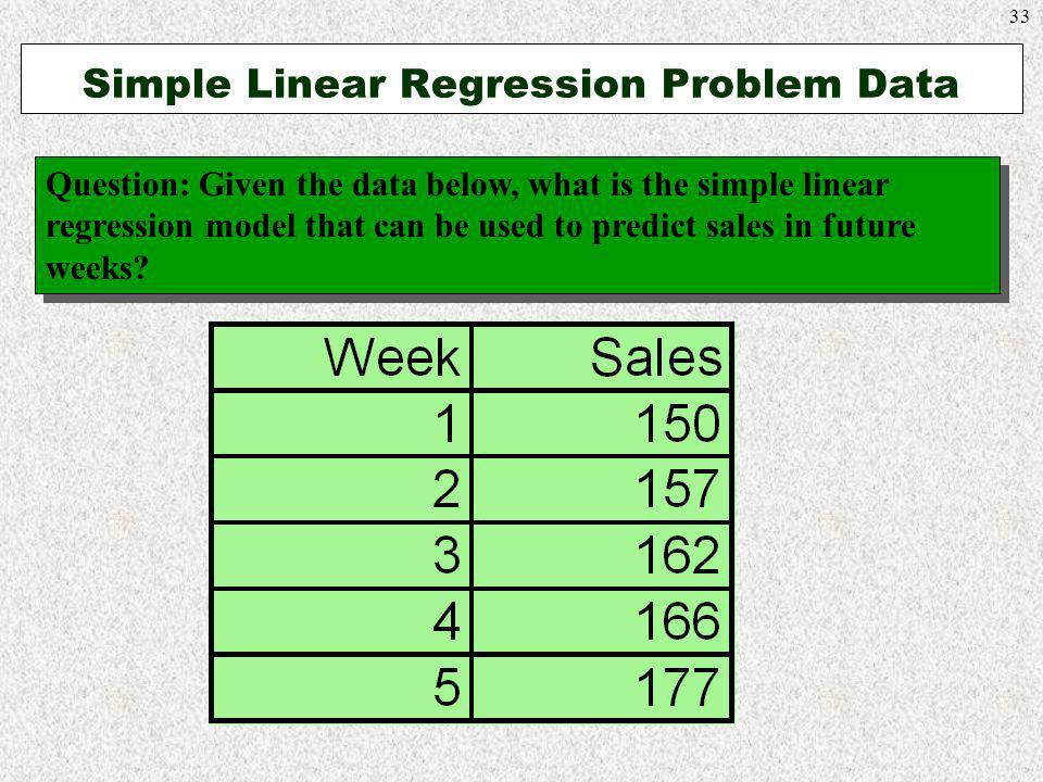33 Simple Linear Regression Problem Data Question: Given the data below, what is the simple linear regression model that can be used to predict sales