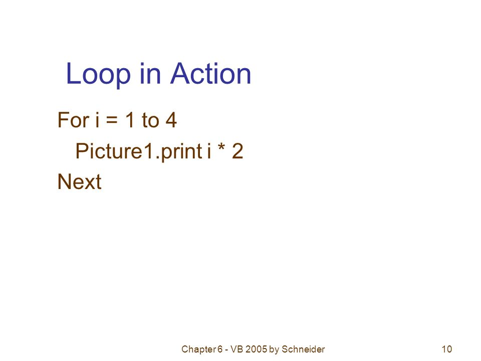 Loop in Action For i = 1 to 4 Picture1.print i * 2 Next Chapter 6 - VB 2005 by Schneider10