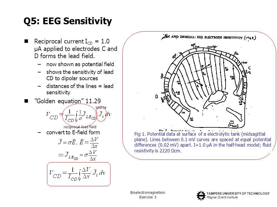 TAMPERE UNIVERSITY OF TECHNOLOGY Ragnar Granit Institute Bioelectromagnetism Exercise 3 Q5: EEG Sensitivity Reciprocal current I CD = 1.0 µA applied t