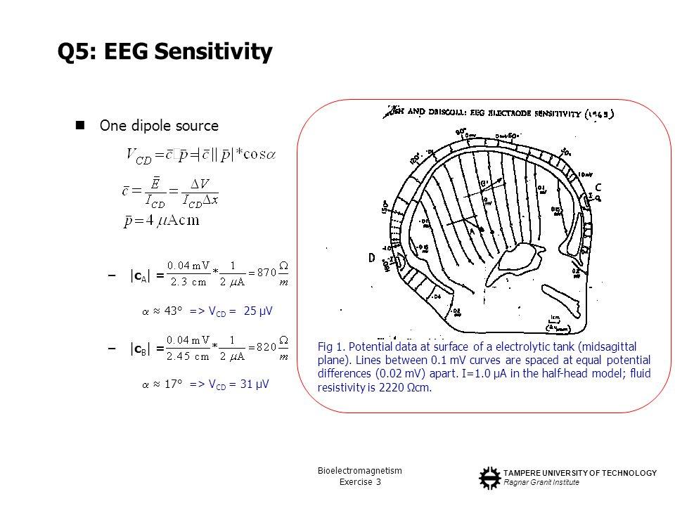 TAMPERE UNIVERSITY OF TECHNOLOGY Ragnar Granit Institute Bioelectromagnetism Exercise 3 Q5: EEG Sensitivity One dipole source –|c A | = 43° => V CD =