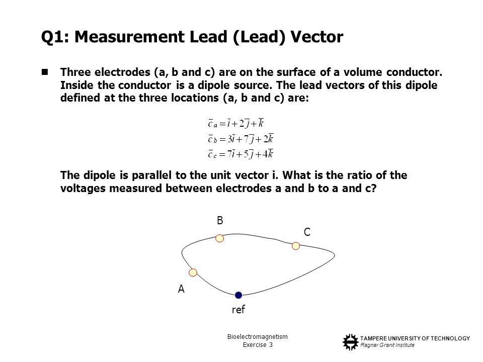 TAMPERE UNIVERSITY OF TECHNOLOGY Ragnar Granit Institute Bioelectromagnetism Exercise 3 Q1: Measurement Lead (Lead) Vector Three electrodes (a, b and