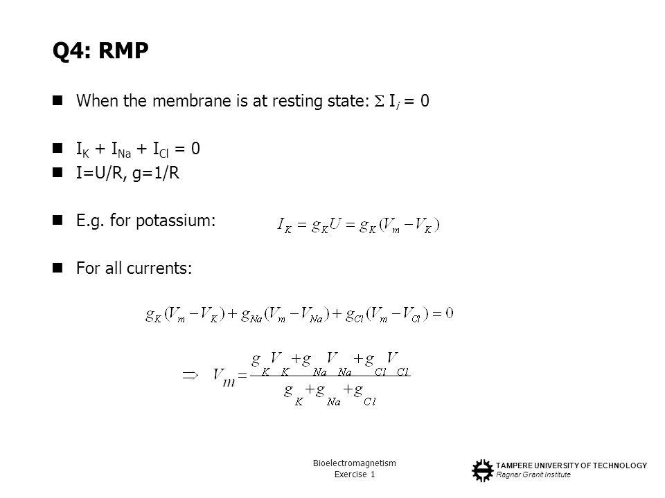 TAMPERE UNIVERSITY OF TECHNOLOGY Ragnar Granit Institute Bioelectromagnetism Exercise 1 Q4: RMP When the membrane is at resting state: I i = 0 I K + I