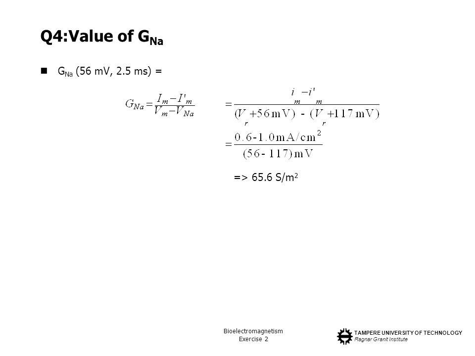TAMPERE UNIVERSITY OF TECHNOLOGY Ragnar Granit Institute Bioelectromagnetism Exercise 2 Q4:Value of G Na G Na (56 mV, 2.5 ms) = => 65.6 S/m 2