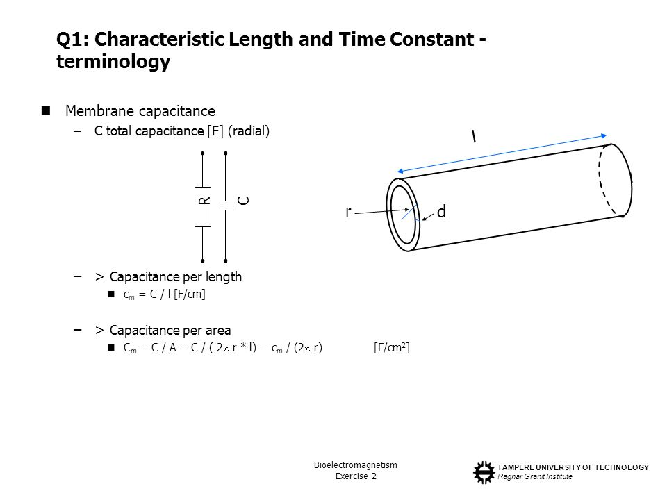 TAMPERE UNIVERSITY OF TECHNOLOGY Ragnar Granit Institute Bioelectromagnetism Exercise 2 Q1: Characteristic Length and Time Constant - terminology Membrane capacitance –C total capacitance [F] (radial) –> Capacitance per length c m = C / l[F/cm] –> Capacitance per area C m = C / A = C / ( 2 r * l) = c m / (2 r)[F/cm 2 ] l r d RC